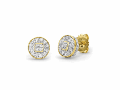 18 karat Yellow Gold, 0.27     total carat weight Diamonds and stainless steel. Imported. - 03-27-9502-11