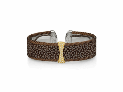 18 karat PG, Stainless Steel, Bronze Cable w/Brown Stingray and 0.12 mixed color Diamonds and 0.10ct. White Diamonds. Imported. - 04-55-R755-30