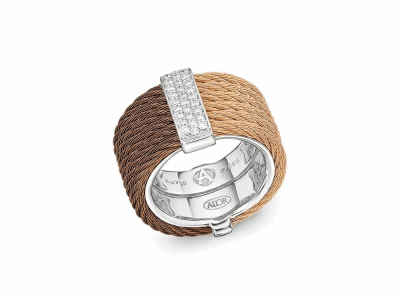 Bronze cable and rose cable, 18 karat White Gold, 0.23     total carat weight Diamonds, stainless steel. Imported. - 02-57-0615-11