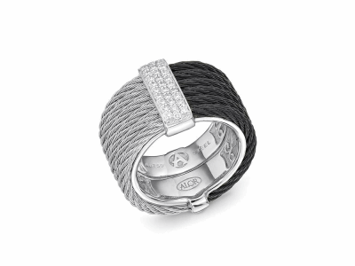 Black cable and grey cable, 18 karat White Gold, 0.23     total carat weight Diamonds with stainless steel. Imported. - 02-54-0615-11