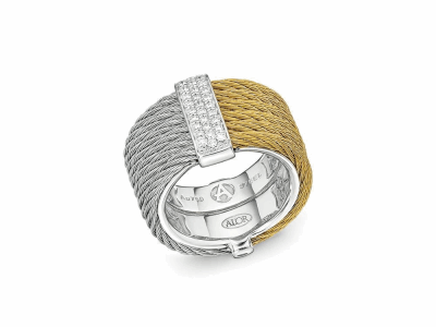 Yellow cable and grey cable, 18 karat White Gold, 0.23     total carat weight Diamonds with stainless steel. Imported. - 02-34-S615-11