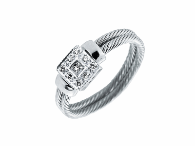 Black cable 3 row 2.5 mm with 18 karat White Gold, 0.13 total carat weight Diamonds and stainless steel. Imported.