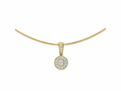 Yellow cable 1 row, 18 karat White Gold, 0.17     total carat weight Diamonds and stainless steel. Imported. - 08-37-S802-11