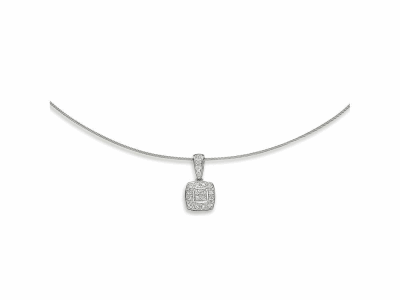 Grey cable 1 row, 18 karat White Gold, 0.17     total carat weight Diamonds and stainless steel. Imported. - 08-32-S804-11