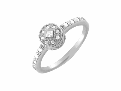 18 karat White Gold and Diamonds 0.15     total carat weight. Imported. - 02-08-0922-11