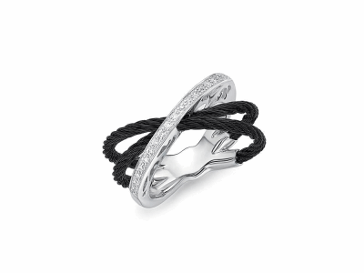Black cable, 18 karat White Gold, 0.16     total carat weight Diamonds and stainless steel. Imported. - 02-52-0708-11