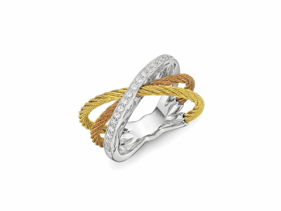 Yellow and rose cables, 18 karat White Gold, 0.16 tcw Diamonds and stainless steel. Imported. - 02-39-S708-11