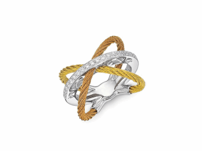 Yellow and rose cables, 18 karat White Gold, 0.16tcw Diamonds and stainless steel. Imported. - 02-39-S703-11