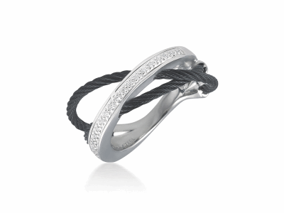 Black cable, 18 karat White Gold, 0.11     total carat weight Diamonds and stainless steel. Imported. - 02-52-0507-11