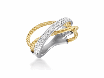Yellow cable, 18 karat White Gold, 0.11     total carat weight Diamonds and stainless steel. Imported. - 02-37-S507-11