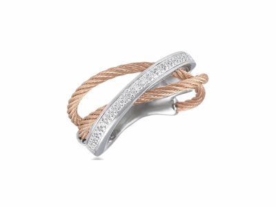 Rose cable, 18 karat White Gold, 0.11     total carat weight Diamonds and stainless steel. Imported. - 02-35-S507-11