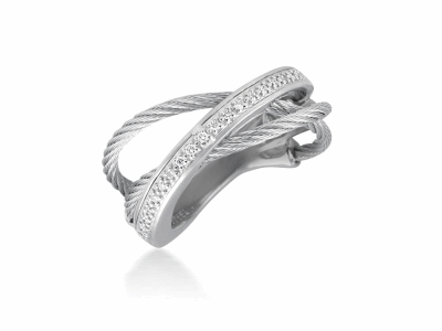 Grey cable, 18 karat White Gold, 0.11     total carat weight Diamonds and stainless steel. Imported. - 02-32-S507-11
