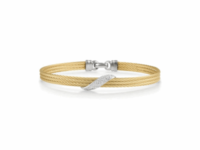 Collection: New WorldStyle #: 10715Description: New World Oxidized Sterling Silver and sterling silver 7.5mm wide crivelli bangle bracelet with pave champagne diamonds. Diamond Weight 0.7ct