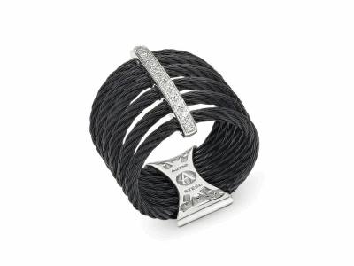 Black cable, 18 karat White Gold, 0.11     total carat weight Diamonds and stainless steel. Imported. - 02-52-0761-11