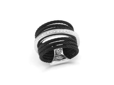 Black cable, 18 karat White Gold, 0.09     total carat weight Diamonds and stainless steel. Imported. - 02-52-0706-11