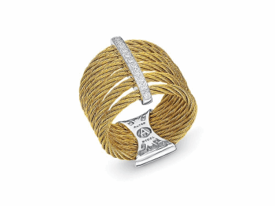 Yellow cable, 18 karat White Gold, 0.11     total carat weight Diamonds and stainless steel. Imported. - 02-37-S761-11