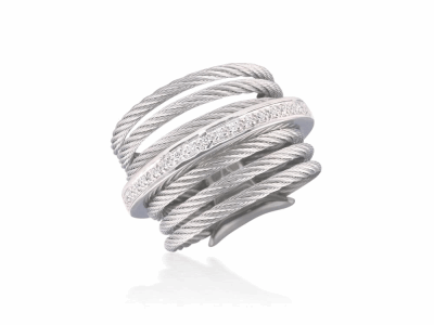 Grey cable, 18 karat White Gold, 0.09    total carat weight Diamonds and stainless steel. Imported. - 02-32-S706-11