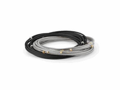 Black cable and grey cable 20 row 1.6mm, 18 karat Yellow Gold with stainless steel. Imported. - 04-54-0020-00