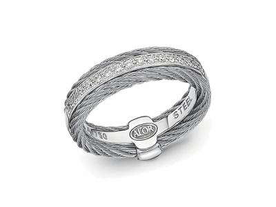 Grey cable, 18 karat White Gold, 0.12    total carat weight Diamonds and stainless steel. Imported. - 02-32-S311-11