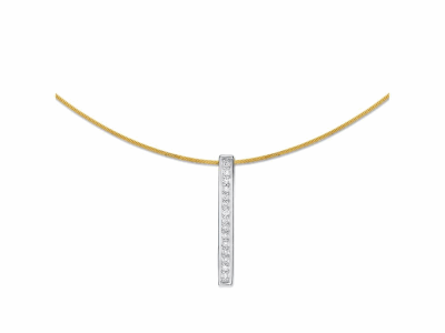 Yellow cable 1 row, 18 karat White Gold, 0.08    total carat weight Diamonds and stainless steel. Imported. - 08-37-S101-11