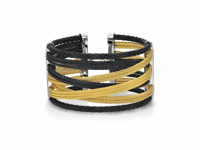 Black cable and yellow cable, 18 karat Yellow Gold, 0.01    total carat weight Diamonds with stainless steel. Imported. - 04-58-0477-00