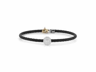 Black 3mm cable, 18 karat White Gold and Yellow Gold, 0.09    total carat weight Diamonds and stainless steel. Imported. - 04-52-0792-11
