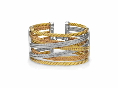 Yellow cable, rose cable and grey cable, 18 karat Yellow Gold, 0.01    total carat weight Diamonds with stainless steel. Imported. - 04-36-S477-00