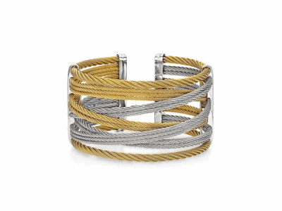 Yellow cable and grey cable, 18 karat Yellow Gold, 0.01    total carat weight Diamonds with stainless steel. Imported. - 04-34-S477-00