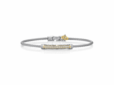 Grey cable, 18 karat Yellow Gold, 0.10    total carat weight Diamonds and stainless steel. Imported. - 04-33-S911-11