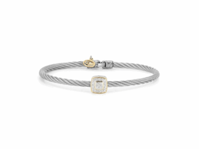 Grey cable 3mm, 18 karat White Gold and Yellow Gold, 0.09    total carat weight Diamonds and stainless steel. Imported. - 04-33-S794-11