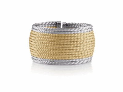 Yellow cable and grey cable 14 row (12)2.5mm & (2)3.0mm, 18 karat White Gold with stainless steel. Imported. - A4-34-S614-00