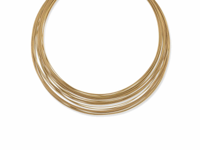 Yellow cable and rose cable, 18 karat Yellow Gold with stainless steel. Imported. - 08-39-S430-00