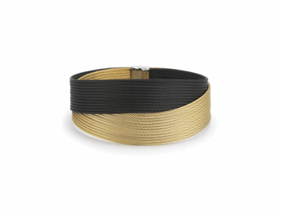 Black cable and yellow cable 24 row 1.2mm, 18 karat Yellow Gold with stainless steel. Imported. - 04-58-0450-00