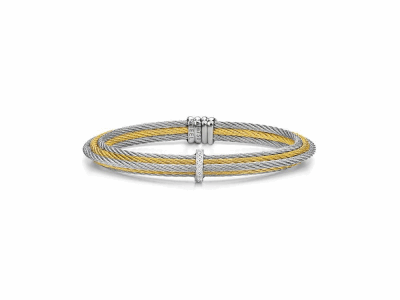 Yellow cable and grey cable 6 row, 18 karat White Gold, 0.06   total carat weight Diamonds with stainless steel. Imported. - 04-34-S415-11