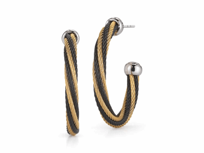 Black cable and yellow cable, 18 karat White Gold with stainless steel. Imported. - 03-58-0850-00