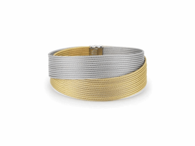 Yellow cable and grey cable 24 row 1.2mm, 18 karat Yellow Gold with stainless steel. Imported. - 04-34-S450-00