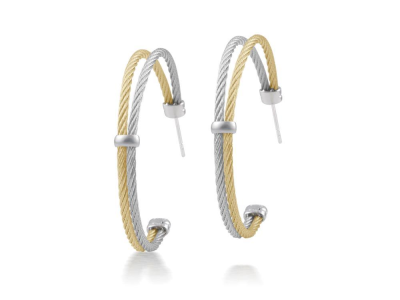 Rose cable and grey cable, 18 karat White Gold with stainless steel. Imported. - A3-34-S260-00