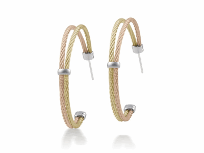 Rose cable and yellow cable, 18 karat White Gold with stainless steel. Imported. - A3-39-S260-00