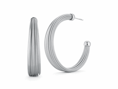 Grey cable micro cable 24 rows, 18 karat White Gold and stainless steel. Imported. - 03-32-S424-00