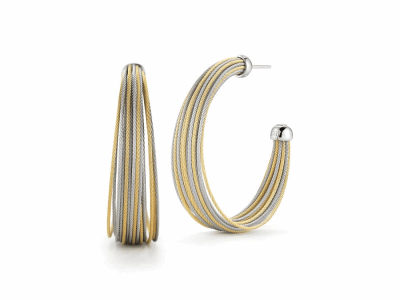 Yellow cable and grey micro cable 24 rows, 18 karat White Gold, stainless steel. Imported. - 03-34-S424-00