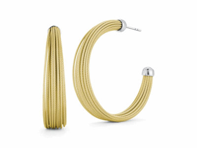Yellow micro cable 24 rows, 18 karat White Gold and stainless steel. Imported. - 03-37-S424-00