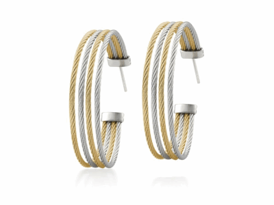 Yellow cable and grey cable 4 row 1.6mm, 18 karat White Gold with stainless steel. Imported. - A3-34-S760-00