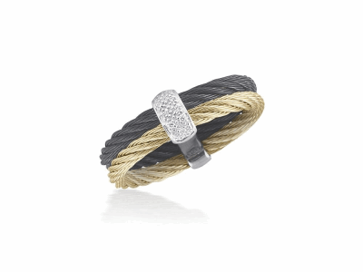 Black cable and yellow cable 2 row 2.5mm, 18 karat White Gold, 0.05  total carat weight Diamonds with stainless steel. Imported. - A2-57-0221-11