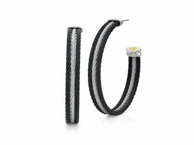Black cable and grey cable, 18 karat White Gold and Yellow Gold with stainless steel. Imported. - 03-54-0313-00