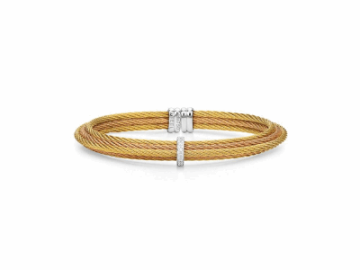 Yellow cable and rose cable 6 row, 18 karat White Gold, 0.06  total carat weight Diamonds with stainless steel. Imported. - 04-39-S415-11
