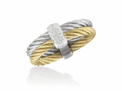 Grey cable and yellow cable 2 row 2.5mm, 18 karat White Gold, 0.05  total carat weight Diamonds with stainless steel. Imported. - A2-34-S221-11