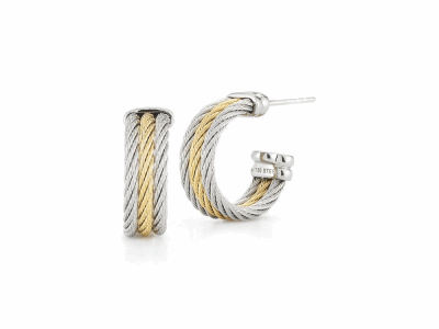 Grey cable and yellow cable, 18 karat White Gold, stainless steel. Imported. - 03-34-S303-00