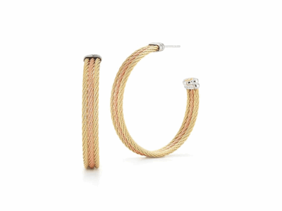 Rose cable and yellow cable, 18 karat White Gold, stainless steel. Imported. - 03-39-S313-00