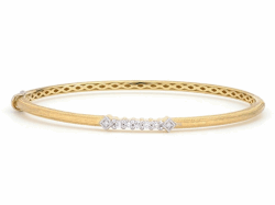 Closeup image for View Lisse Brushed Pave Bangle With Simple Diamond Accent By Jude Frances