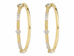 Closeup image for View Provence Champagne Bezel Pearl Hoop Earrings By Jude Frances